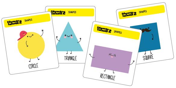 Flashcards do livro de inglês para crianças de 4 anos da Educação Infantil.