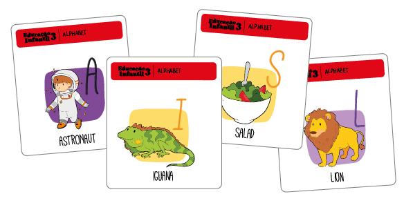Flashcards do livro de inglês para crianças de 5 anos da Educação Infantil.