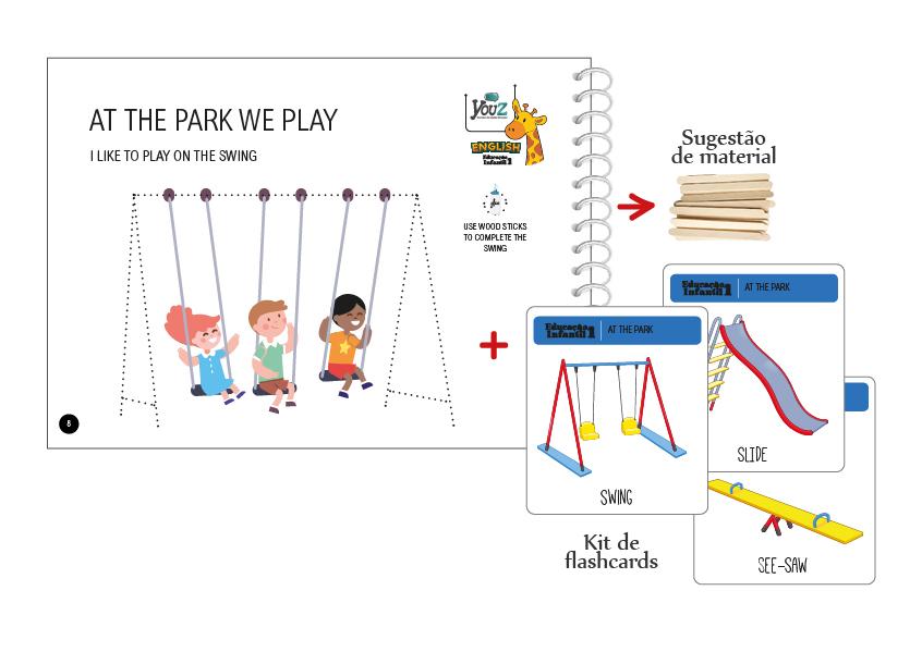 Atividade do Livro de Inglês para crianças de 3 anos. Tema: At the Park.