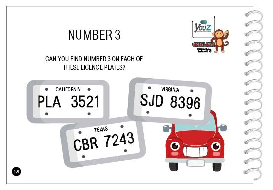 Atividade do livro de inglês para crianças de 4 anos. Tema: Numbers.
