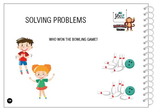 Atividade do livro de inglês para crianças de 4 anos. Tema: Solving problems.
