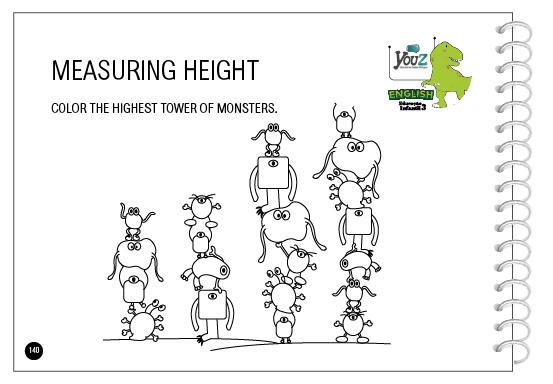 Atividade do livro de inglês para crianças de 5 anos da Educação Infantil. Tema: Measuring.