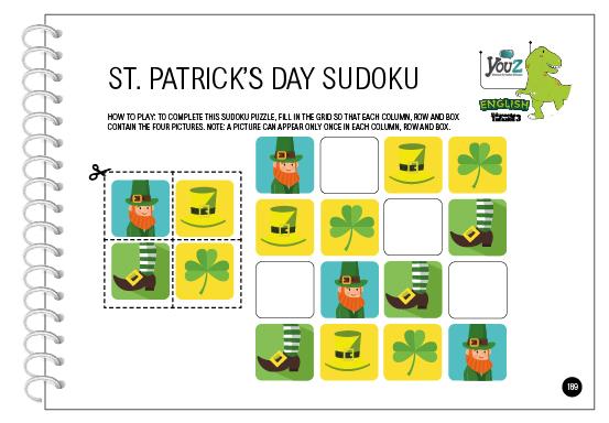 Atividade do livro de inglês para crianças de 5 anos. Tema: Saint Patrick's Day.