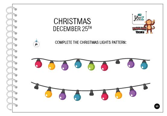 Atividade do livro de inglês para crianças de 4 anos. Tema: Christmas.