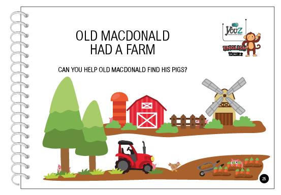 Atividade do Livro de Inglês para crianças de 4 anos. Tema: Old Mac Donald had a farm.