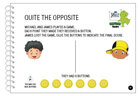 Atividade do livro de inglês para crianças de 5 anos da Educação Infantil. Tema: Quite the Opposite.