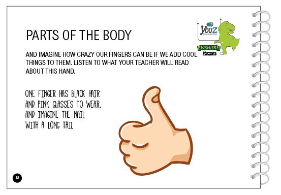 Atividade do livro de inglês para crianças de 5 anos. Tema: Parts of the body.