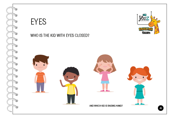 Atividade do Livro de Inglês para crianças de 3 anos (Educação Infantil). Tema: All about me.