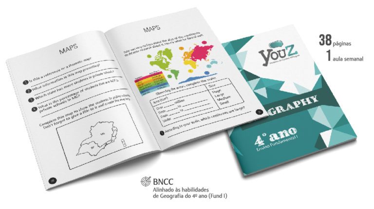 Livro de Geography para alunos do 4º ano (Fund I). Educação Bilíngue
