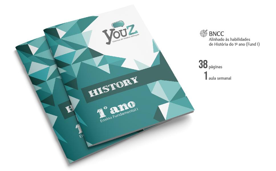 Livro de History para alunos do Fundamental I. Educação Bilíngue