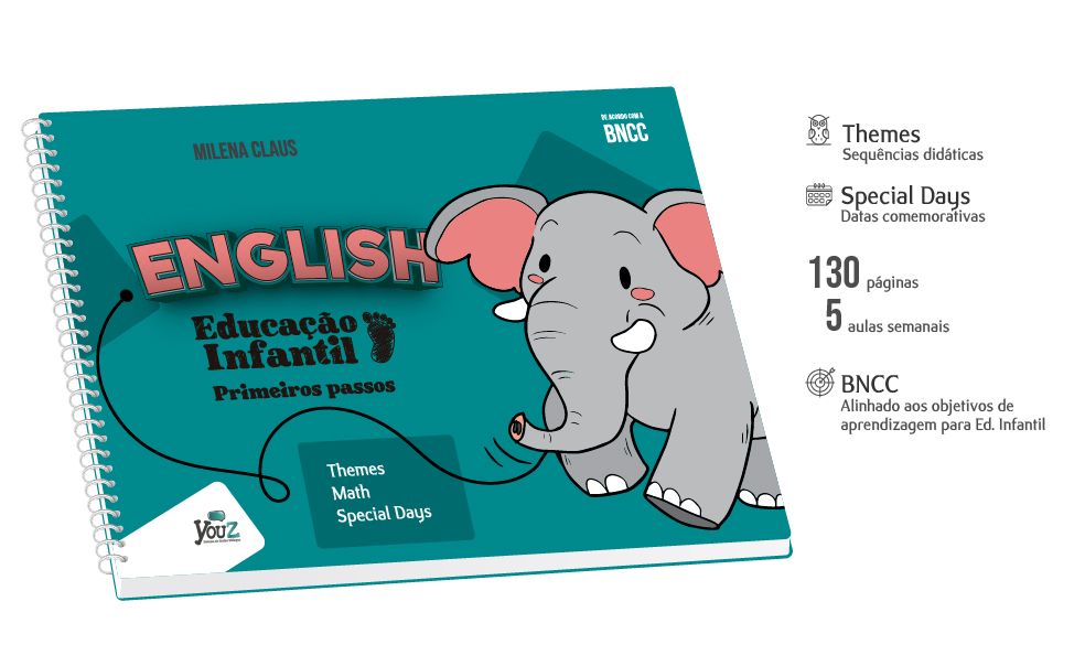 Livro de inglês para crianças de 2 anos. Educação Infantil Bilíngue.